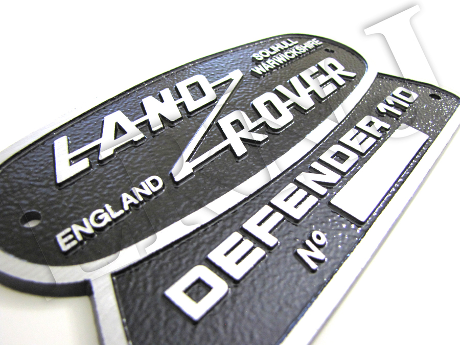 LAND ROVER DEFENDER 110 SOLID BADGE SOLIHULL WARWICKSHIRE BADGE ALUMINIUM PLATE