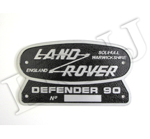 LAND ROVER DEFENDER 90 SOLIHULL WARWICKSHIRE ENGLAND ORIGINAL BADGE NAMEPLATE