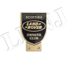 LAND ROVER OWNERS CLUB SCOTTISH NEW ORIGINAL BADGE NAMEPLATE BRONZE / BLACK CAST